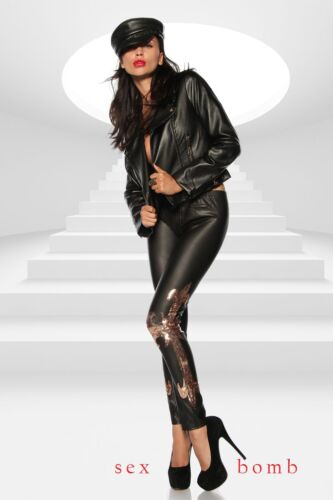 m Xs Leggings oro 40 Rock Nero Inserti T 42 38 Sexy Paillettes Glam Fashion Zwq0xY