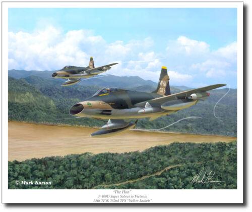 "/""The Hun/"" by Mark Karvon F-100 Super Sabre Giclee Print Aviation Art Prints"