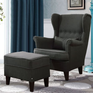 Dark Grey Wing Back Reading Relaxing Armchair Amp Ottoman