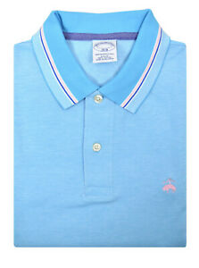 da2883a85 Performance Series Bird's-Eye Polo Shirt. Image is loading Brooks-Brothers- Mens-Bright-Blue-Pink-Slim-Fit-. M_5c783597035cf1bb09f0691a