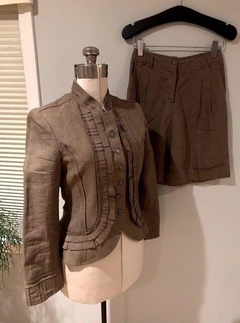 CYNTHIA STEFFE Woman's Linen Military Blazer & Shorts