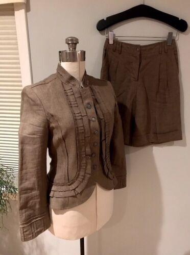 Blazer Shorts Military Cynthia Steffe Linen Kvinders 6pwq8qPI