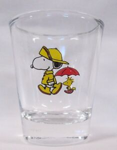 Woodstock with Umbrella Image on Clear Shot Glass Snoopy in Raincoat