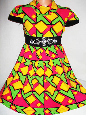 Kindermode, Schuhe & Access. Girls Bright Green Pink Yellow Multi Colour Geo Print Knit Party Dress Age 3-4