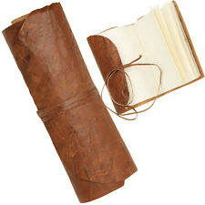 Steampunk Medieval Crushed Genuine Leather Folded Scroll Pocket Diary Brown