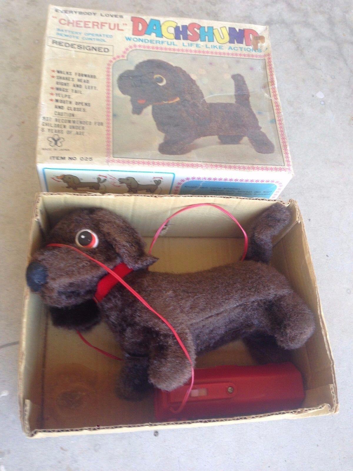 Vintage Cheerful Dachshund Puppy Remote Battery Operated Dog Original Box 1960s