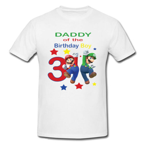 any name Mario themed Birthday matching t-shirts for all family any age