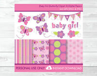 Baby Girl Pink Butterfly Clipart & Digital Paper
