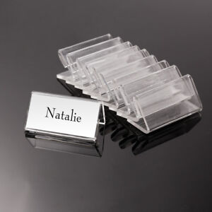 50pcs clear acrylic desktop business card sign display holder price image is loading 50pcs clear acrylic desktop business card sign display reheart Images