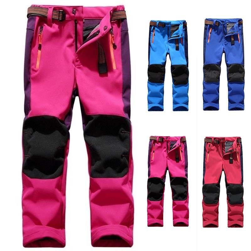 Kids Winter Warm Waterproof Pants Boy Girls Fleece Climbing Skiing Trousers Size