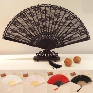 Espagnol-Femme-Eventail-a-Main-Dentelle-Soie-Fleur-Floral-Mariage-Fete-Costume