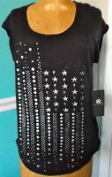 Rock & Republic Black Stars & Stripes Embellished Tee Shirt Top - X-small -
