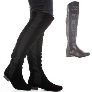 Womens Thigh High Over Knee Flat Stretch Low Heel Wide ...