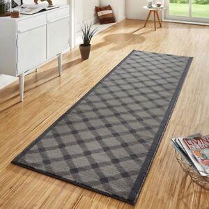 design velours teppichl ufer br cke teppich diele flur grand grau ebay. Black Bedroom Furniture Sets. Home Design Ideas
