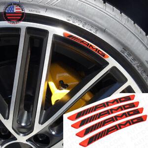 4x Mercedes AMG Edition Sport Wheels Badge 3D Sticker Logo Emblem Decoration Red