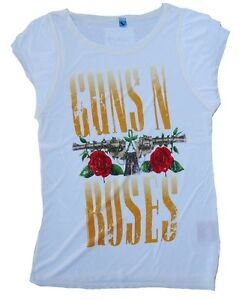Wow Inscription N' Guns shirt Roses Star Logo Imprimé Rock M T Vintage Amplified WzqIanz