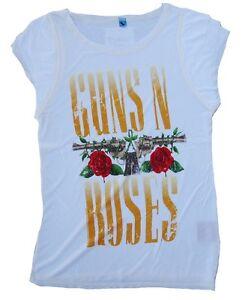 shirt Wow Star Rock Guns T Amplified Inscription Roses Imprimé Vintage M Logo N' fWqPR