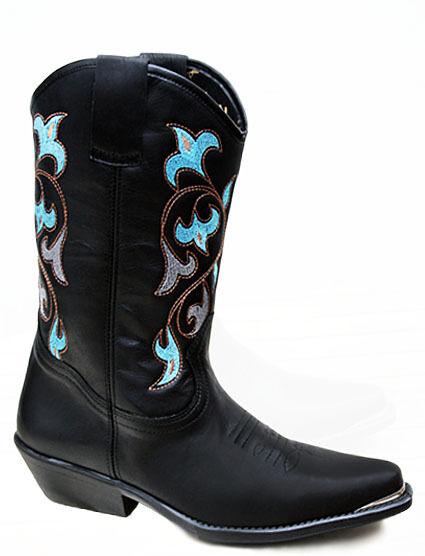 Señoras Santa Fe Western Cowboy Boots Navajo Negro De Cuero Turquesa Bordado