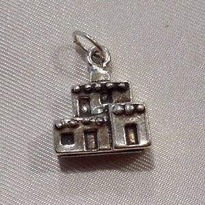 Sterling-Silver-Bracelet-Necklace-Charm-3g-Pueblo-Settlement-Brick-Building-5-034