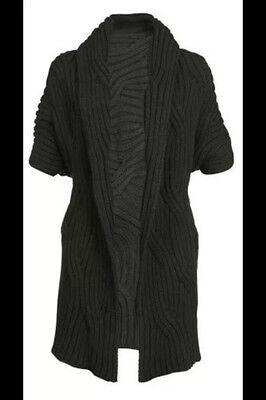 verschlusslose APART Strickjacke Jacke NEU schwarz mit Zopfmuster
