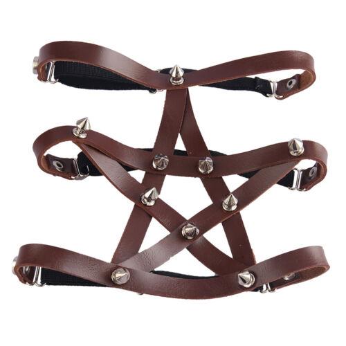 Women Pentagram Leg Garter Belt Adjustable PU Leather Elastic Harness Belt