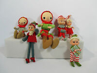 Christmas Elves Pixies Dolls Vintage Cloth Felt Plastic Faces Elf on Shelf Lot 6