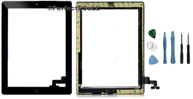 Front Panel Touch Screen Glass Digitizer + Home Button Assembly for iPad 2 Black