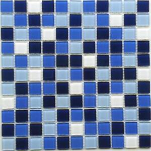 M² Matten Crystal Glasmosaik Mosaik Fliesen Blau Mix Mm - Glasmosaik fliesen blau