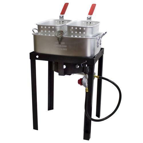 Qualité Commerciale gaz propane double panier Outdoor Friteuse 18 QT Deep Fry Fish ailes