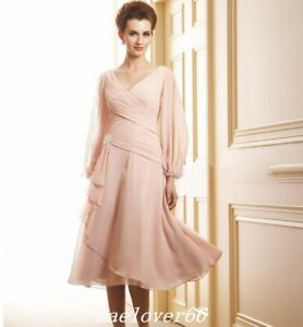 Chiffon-Long-Sleeve-V-Neck-Tea-Length-Mother-Of-Bride-Dress-Guest-Party-Dresses