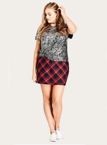 Ex EVANS City Chic Red Checked Mini Skirt Size 14 16 18 20 RRP £40