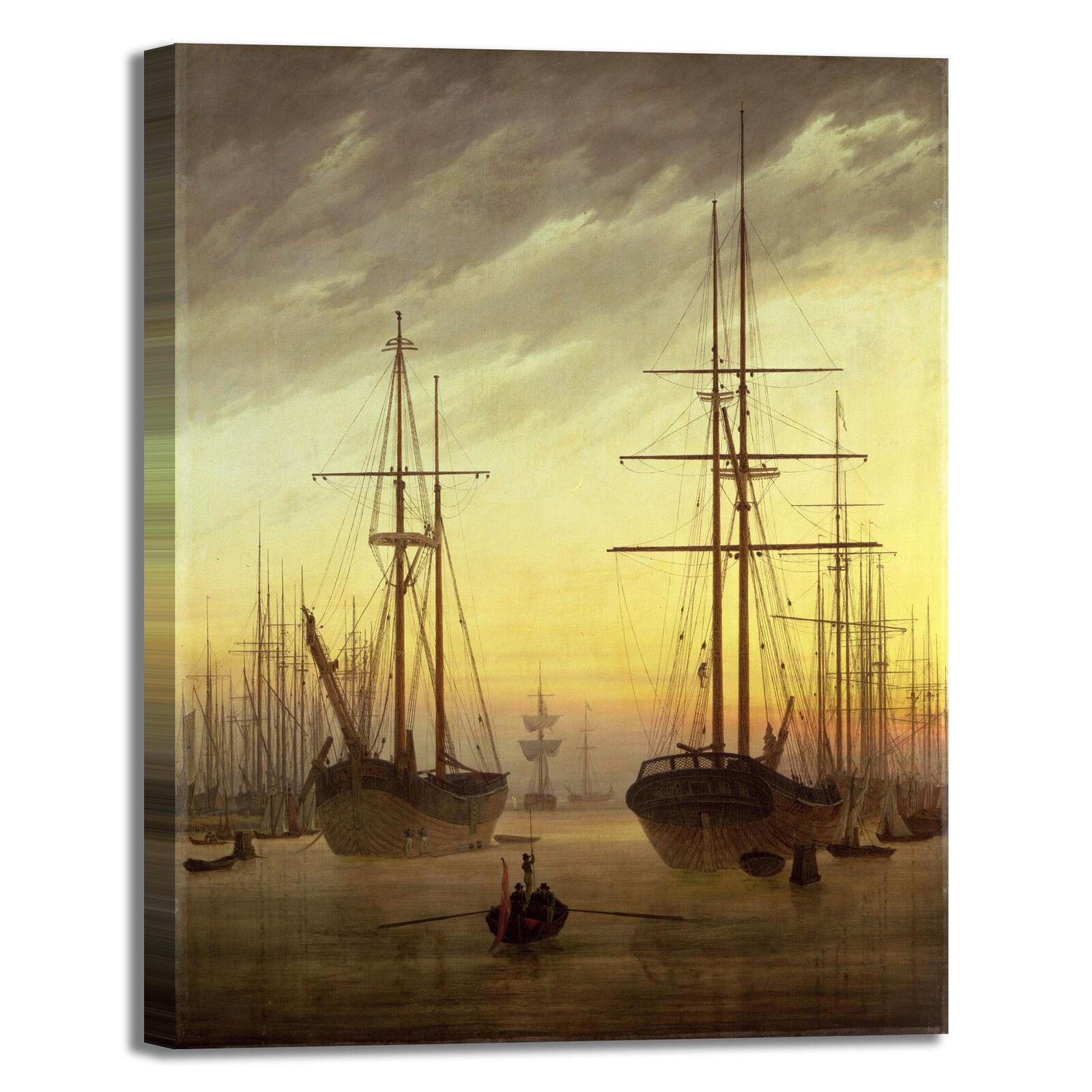 Caspar veduta di un porto design quadro stampa tela dipinto telaio arrossoo casa