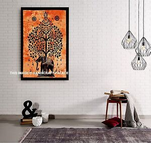 Indian Cotton Elephant Tree Poster Size Tapestry Ethnic Yoga Mat Wall Hanging