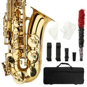 Professional-Alto-Eb-Saxophone-Sax-Gold-w-Case-Mouthpiece-amp-Accessories