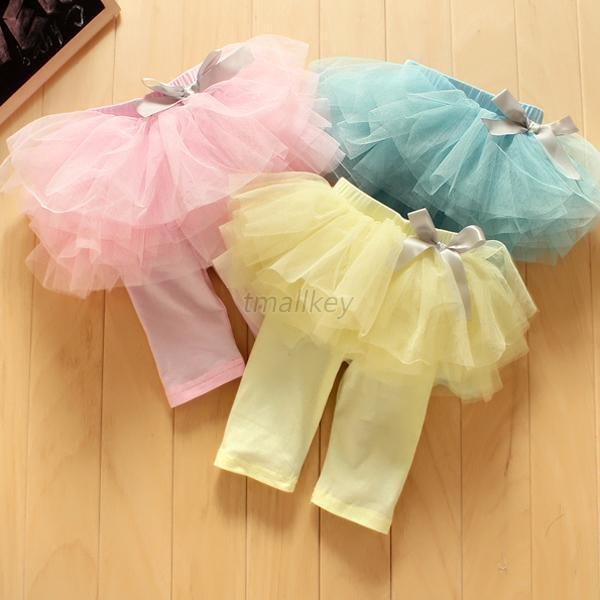 Child Girl Kids Culottes Leggings Gauze Cropped Pants Party Skirt Bow Tutu Dress