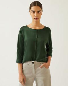 Jigsaw Silk Satin Front Batwing Top Womens New Green Dark Khaki