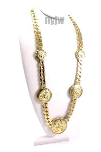 "NEW GOLD 5 MEDALLION MEDUSA GREEK CUBAN LINK CHAIN PENDANT 33/"" NECKLACE KMC001G"