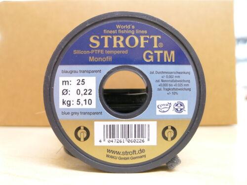 STROFT Vorfachmaterial GTM 25 Meterspule  0,22mm Durchmesser  Tragkraft 5,1kg