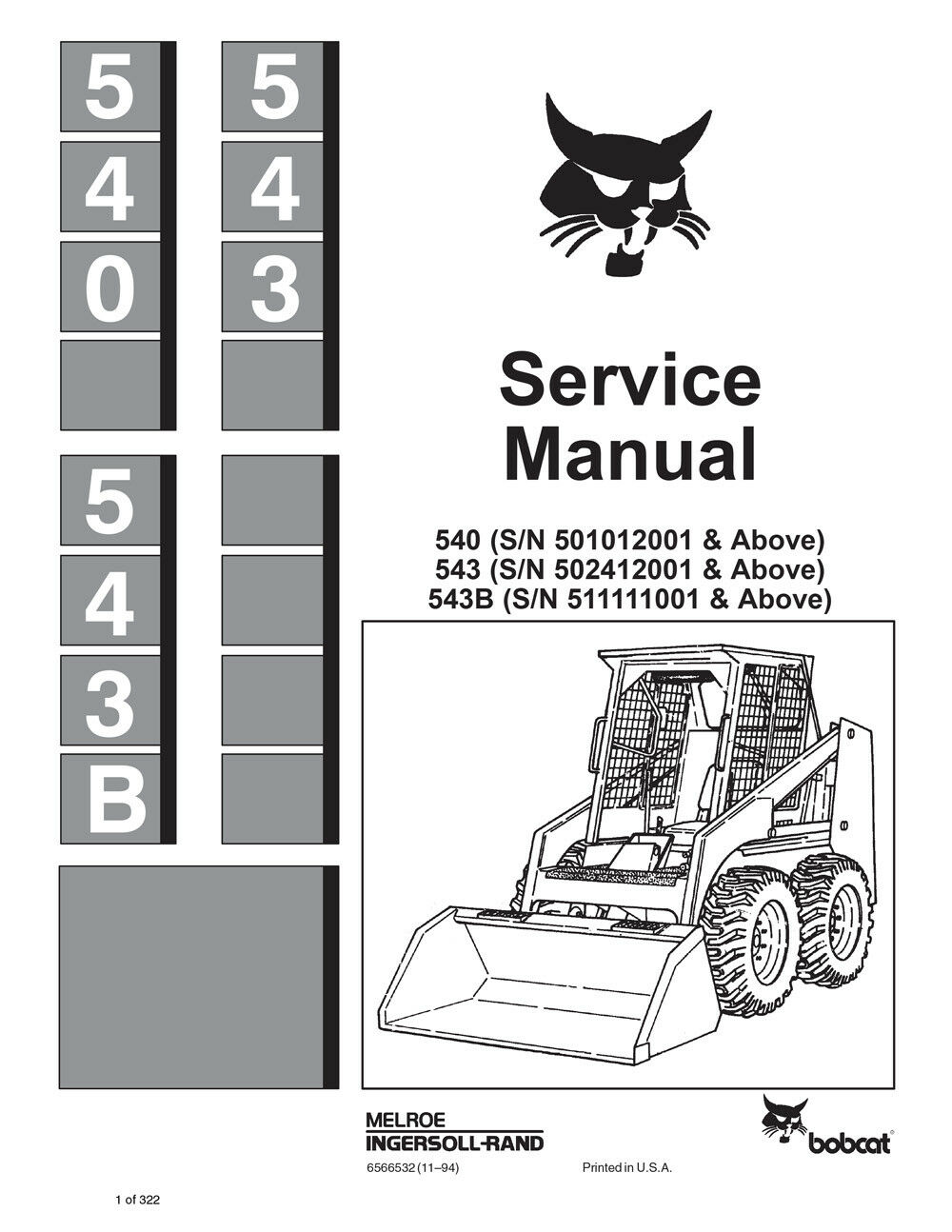 ... 543 B Skid Steer Loader Printed Service Repair Manual 6566532. image