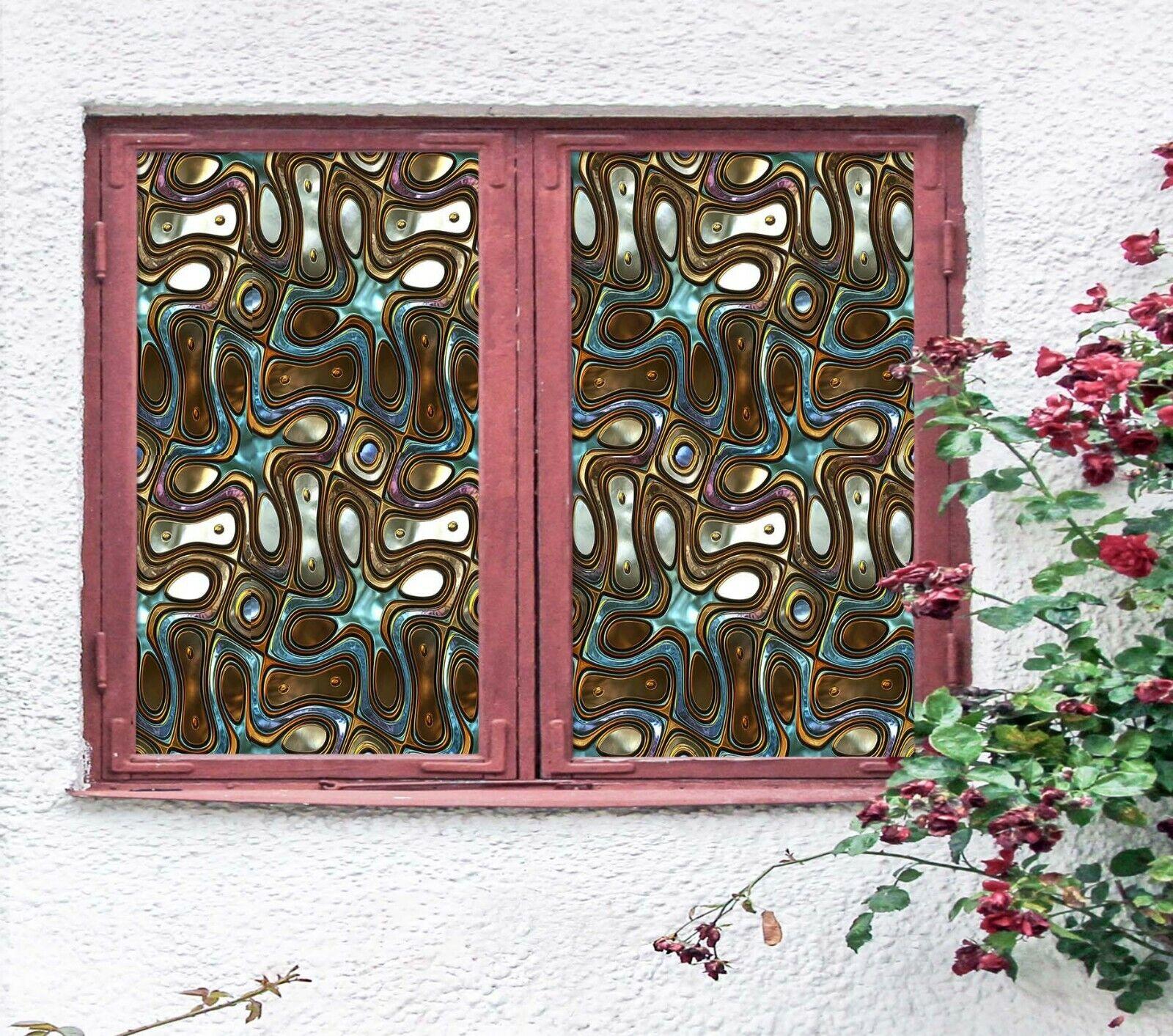3D Metal Pattern N798 Window Film Print Sticker Cling Stained Glass UV Block Amy