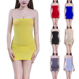 26a12e3a922 Womens Strapless Long Tube Top Tight Dress Mini Dresses Semi See ...