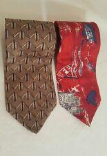 Oscar de la Renta Gold and Red Patterned Vintage Silk Tie 100% Silk