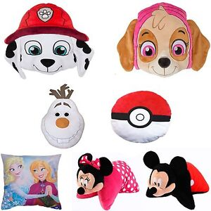 Character Shaped Cushion Pillow Boys Girls Paw Patrol Frozen Disney Pokemon