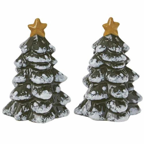 Park Designs Vintage Hometown Ceramic Christmas Tree Salt /& Pepper Shaker Set