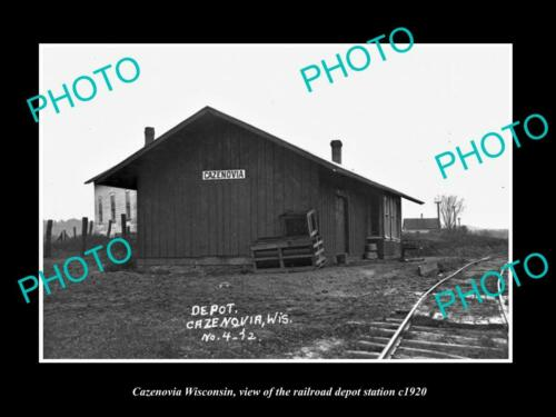 OLD 6 X 4 HISTORIC PHOTO OF CAZENOVIA WISCONSIN THE RAILROAD DEPOT STATION c1920