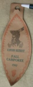 Rare-Boy-Scouts-of-America-Canyon-District-Fall-Camporee-1963-Leather-Patch