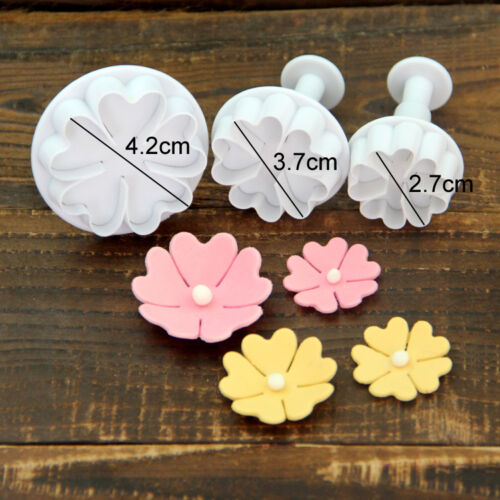 Fondant Cake Cutter Plunger Cookie Mold Sugarcraft Flower Leaf Decorating Mould
