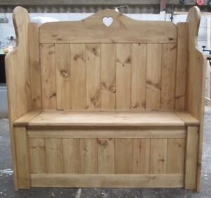 Handmade Rustic Solid Pine Monks Bench Storage Bench Toy Box Heart