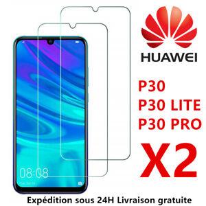 Verre trempé Huawei P30 P30 Lite P30 Pro vitre film protection écran 9H Lot 2