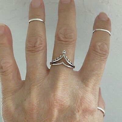 rhodium-plated-brass, 4 Pointed V Shaped Chevron 925 Sterling Silver Ring